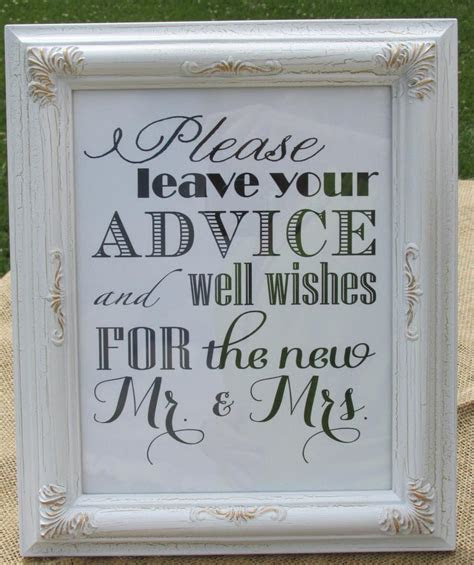 Rustic Wedding Advice Sign includes 80 Blank Cards For
