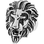 Stainless Steel Silver-Tone Animal Lion Head Statement Mens Ring Band