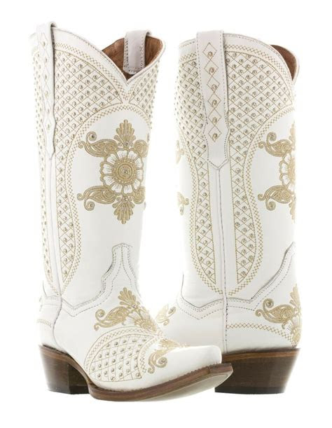 womens white wedding bridal leather western cowgirl boots