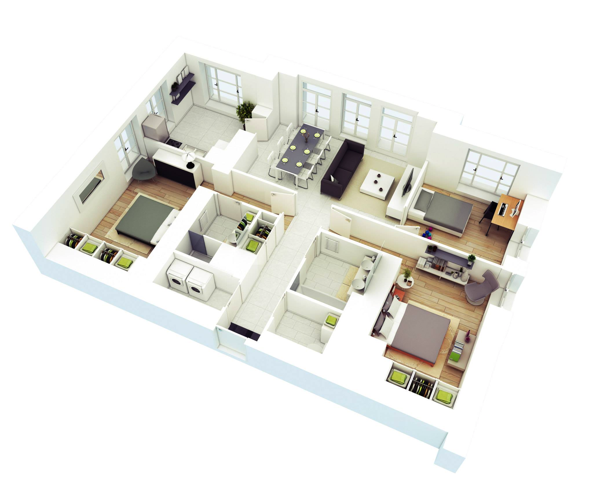 25 More 3 Bedroom 3D Floor Plans - Rutherford House 908 3162 3 Bedrooms And 2.5 Baths The House Designers
