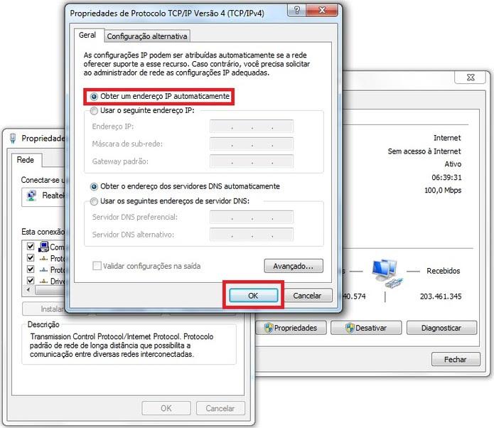 Interface das propriedades de protocolo da conexão à internet (Foto: Reprodução/Marcela Vaz) (Foto: Interface das propriedades de protocolo da conexão à internet (Foto: Reprodução/Marcela Vaz))