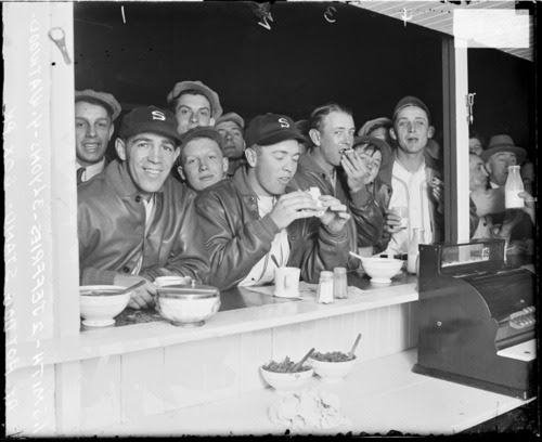 Chicago History in Pictures, Informal group portrait of baseball players (left...