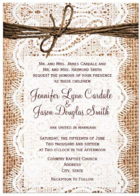 western wedding invitations with lace   Western Wedding