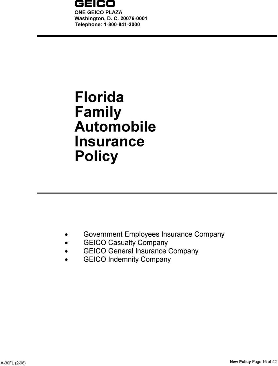 Insurance: Auto Insurance Declaration Page Geico