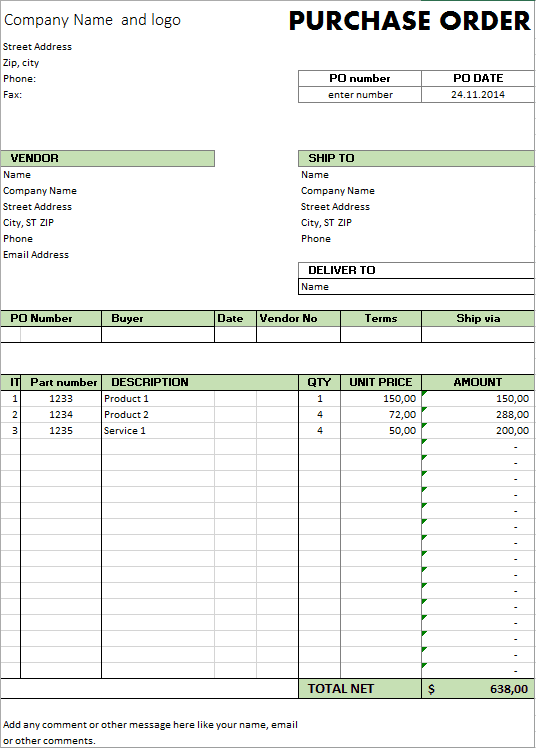 Excel Template - Free Purchase Order Template for Microsoft Excel ...