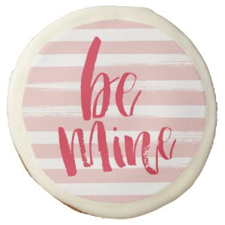 "Painterly stripe be mine cookies - 3.5"" sugar cookie"