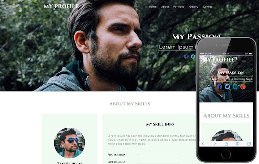 My Profile a Personal Portfolio category bootstrap Responsive Web Template