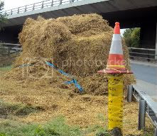 Cone,Bale of Hay,Yellow tape,barriers,tape