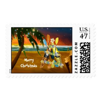 Tropical Kayak Christmas Tree Postage