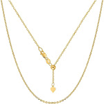 """14K Yellow Gold Adjustable Cable Chain Necklace, 0.9mm, 22"""""""