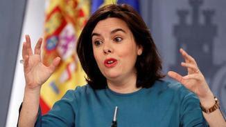 Soraya Sáenz de Santamaría, aquest divendres, en la compareixença informativa posterior al Consell de Ministres (EFE)