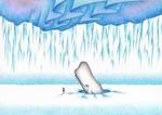 クジラ・白鯨・氷山・オーロラ・氷原・氷雪