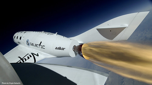 Close up of SS2 during successful rocket-powered flight by Virgin Galactic