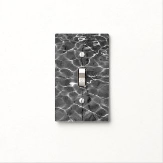 Light Reflections On Water: Black & White Light Switch Plates