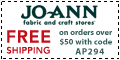 Free shipping at Joann.com!  Code:  AUGFSA625