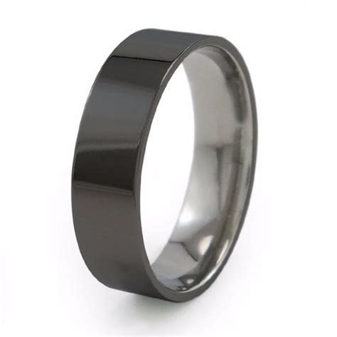 Stealth   Modern Black Titanium Wedding Band   Titanium Rings