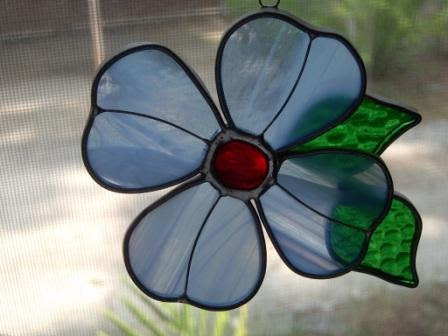 A Year in Color - Sky Blue Stained Glass Flower