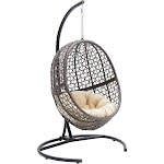 Outdoor Belham Living Resin Wicker Hanging Egg Chair with Cushion and Stand