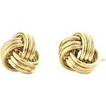 14K Yellow Gold Fancy Statement Love Knot Earrings Polished 9.50mm Italian Studs