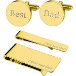 BodyJ4You 4PC Cufflinks Tie Bar Money Clip Button Shirt Love Best Dad Father Day Gift Box Set