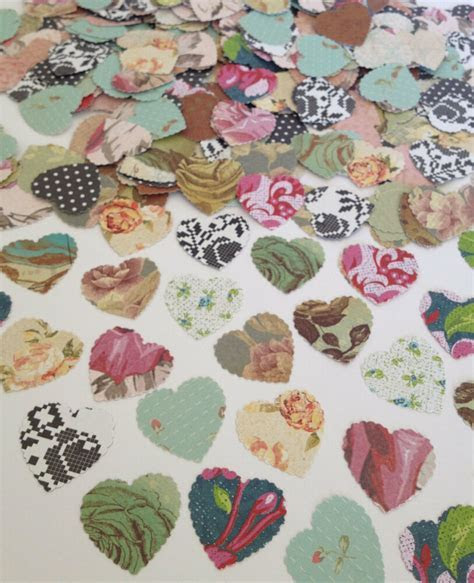Vintage Shabby Chic Roses Heart Confetti Scatters Wedding