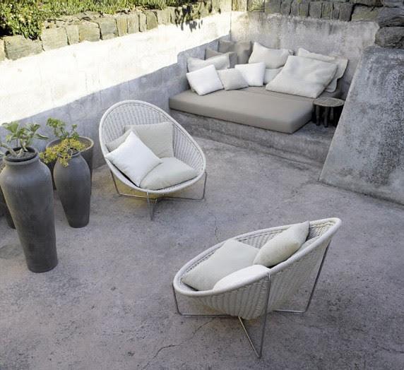 Stone Patio Furniture Idea - making stone or concrete patio cozy