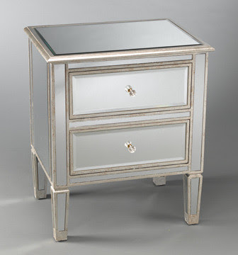 Two Drawer Mirrored Bedside Table - Eclectic - Nightstands ...