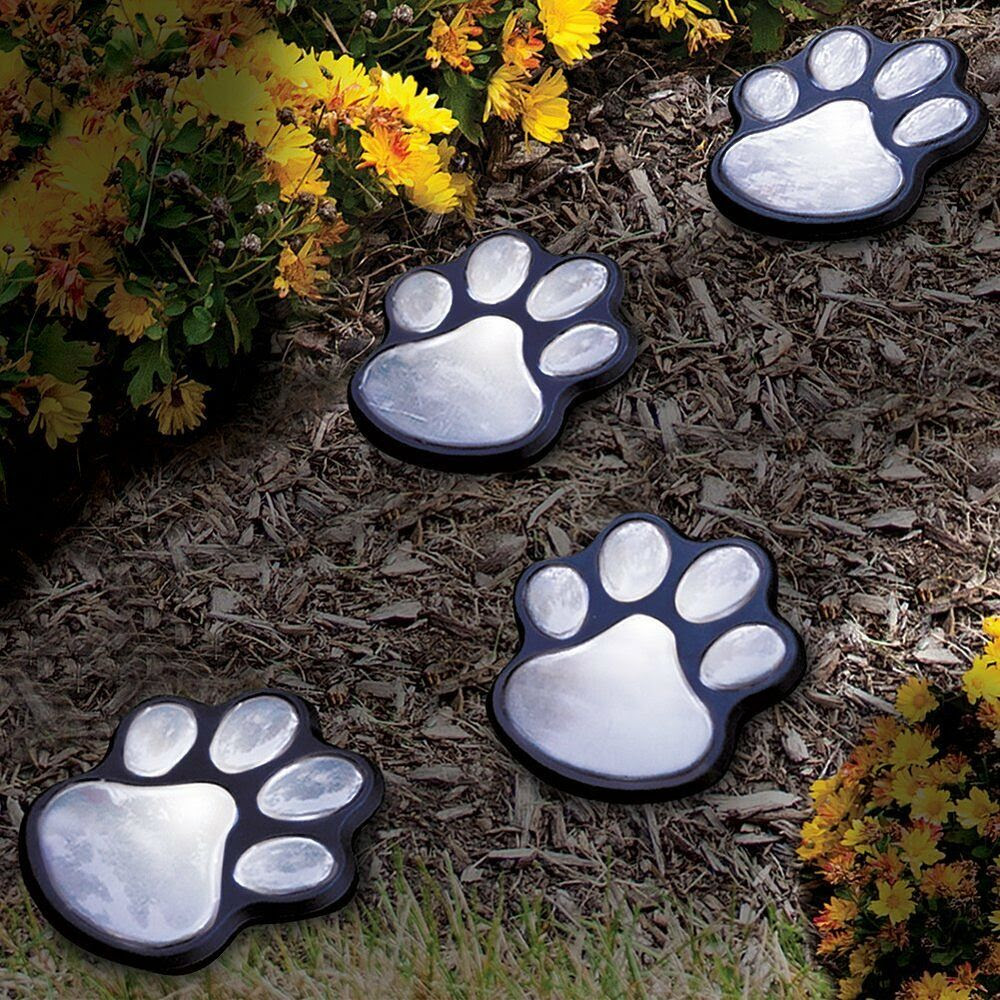 NEW Set Of 4 Solar Paw Prints Garden Yard Path Outside Decor Battery Included  eBay