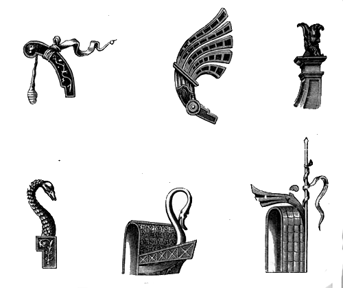 Stem and stern ornaments of galleys.
