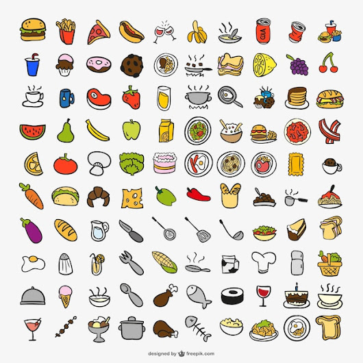 Drawing cooking color icons