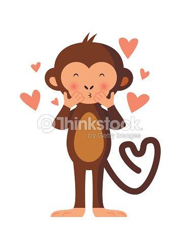 かわいい猿投げキスロマンチックなベクトルイラスト ベクトルアート