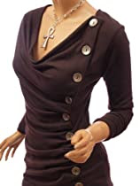 Patty Women Cowl Neck Button Embellished Ruched Blouse Top