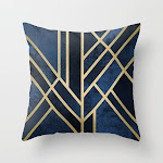 """Art Deco Midnight Couch Throw Pillow by Elisabeth Fredriksson - Cover (16"""" x 16"""") with pillow insert - Indoor Pillow"""