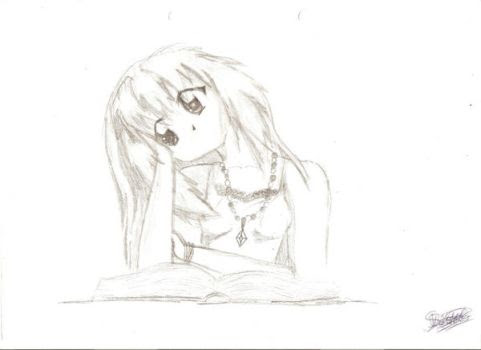 Anime Girl Reading A Book Drawing