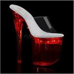 "FLASHDANCE-801, 8"" Heel 4 PF LED Illuminated Slide Sandal Size 5"