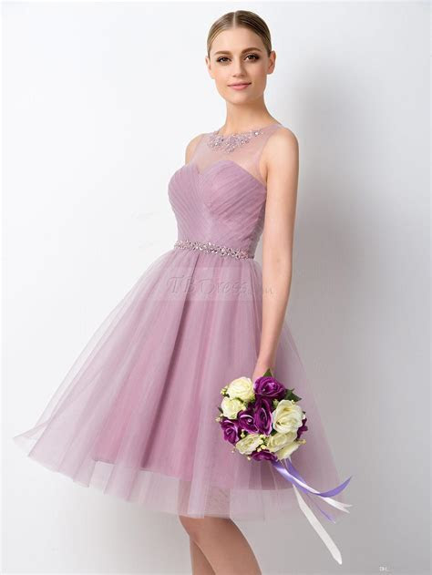 2016 spring summer short Lilac bridesmaid dresses