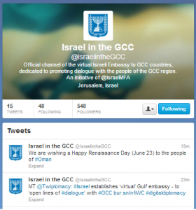 """Israel in the GCC,"" the Israel Foreign Ministry's ""Virtual Embassy"" for the Persian Gulf. Photo: Screenshot."
