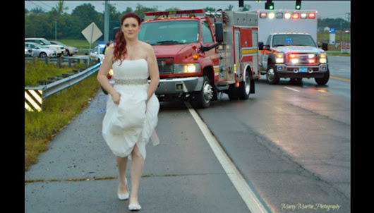 Photo of paramedic responding to call in wedding dress goes viral