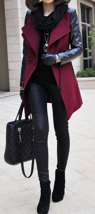 Burgundy coat...but with slightly thicker thighs (srsly how does she not topple over??? Do some squats and eat a sandwich!)