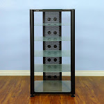 VTI RGR406BF RGR Series 6 Shelf AV Rack (Black Frame Frosted Glass)