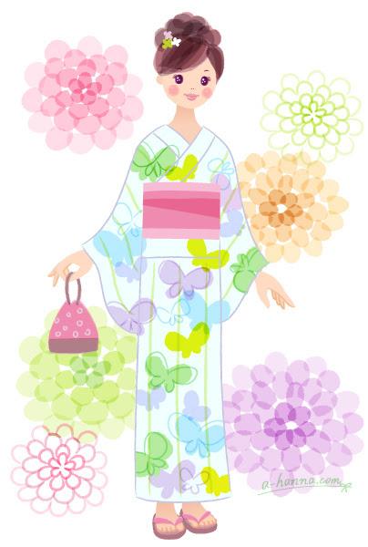女性のイラストガールズイラスト浴衣夏花アトリエハンナ