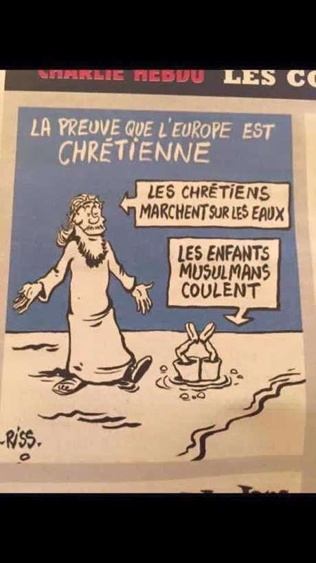 """""""A prova de que a Europa é cristã. Os cristãos andam sobre a água. As crianças muçulmanas afundam"""""""