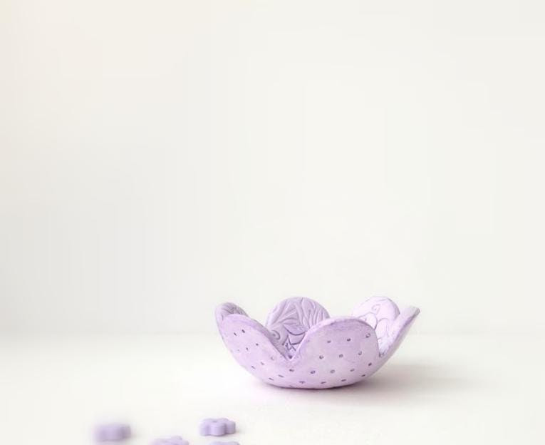 Ring Bowl,  Lace Texture Ring keeper Bowl, Purple , Lilac, Lavender ,Handmade Home Decor - efiwarsh
