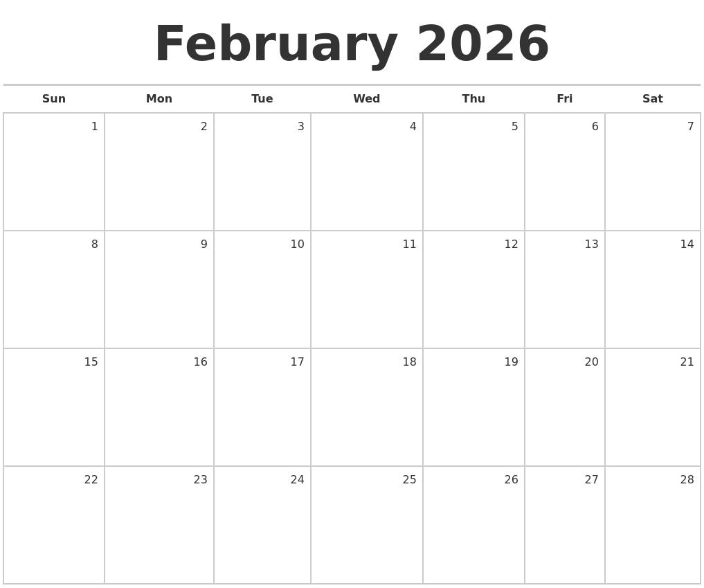 february 2026 blank monthly calendar