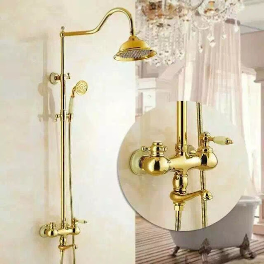 New Design Brass Delicate Bathroom Golden Rainfall Wall Mounted Shower Tap TS1432G [TS1432G] - £285.99 : Cheap Taps Sale Online Store- Offering All Kinds of Taps