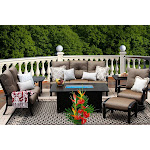 Barbados Cushion 7 Piece Outdoor Dining Set with Fire Table