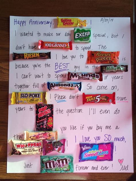 Poster board candy card made for my boyfriend for our