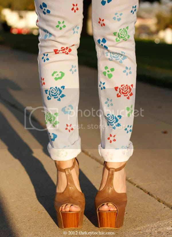 floral denim D.I.Y., flower jeans, Jessica Simpson Dany, Los Angeles fashion blog, southern California style