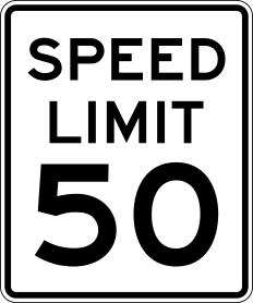 A typical speed limit sign in the United State...
