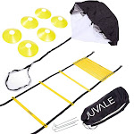 Juvale - Speed and Agility Ladder Training Set with 6 Cones and Resistance Parachute Foldable